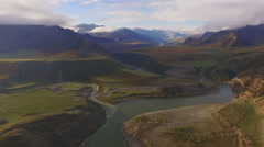 Amazing mountain landscape with rivers, aerial view Stock Footage
