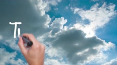Transparency -  concept with hand writing on the sky. Man writing. Blue sky w Stock Footage