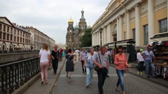 Tourists walk along the promenade in St. Petersburg Stock Footage