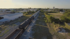 Aerial Flying alongside Train Stock Footage