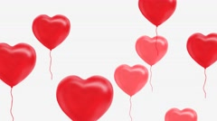 Red balloons in the shape of a heart, Alpha Channel, Luma Matte Stock Footage