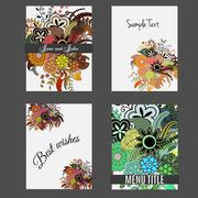 Set of perfect wedding templates with doodles tribal theme. Ideal for Save The Stock Illustration