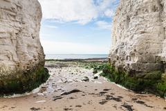 Popular white cliffs Botany Bay La Manche English channel coast, Kent, Englan Stock Photos