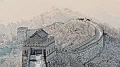 Great Wall of China. North China. Historical largest monument. Color pencil. Stock Footage