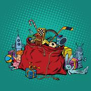 Kids toys, bag with Christmas gifts Stock Illustration