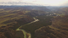 Valley of the river in the white top mountains, aerial view Stock Footage