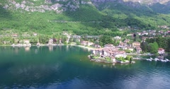 Como Lake - Village of Lierna (Italy) - Aerial view Stock Footage