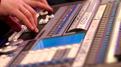 Mixing console, mixing console electronic device for information, audio signals Stock Footage