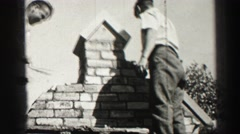 1952: people are seen building with cement and bricks EDINBOURGH, SCOTLAND Stock Footage