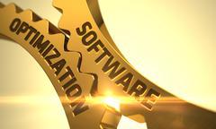 Software Optimization on the Golden Gears. 3D Illustration Stock Illustration