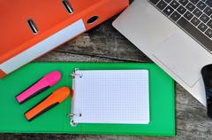 Index cards and office supplies Stock Photos