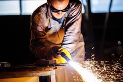 Cutting metal with plasma equipment Stock Photos