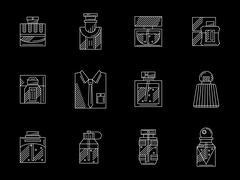 Mens perfumes white line vector icons set Stock Illustration