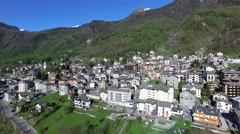 Chiesa in Valmalenco - Aerial view over the village Stock Footage