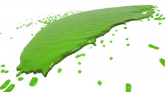 Green fluid flow hits a surface. juice Stock Footage