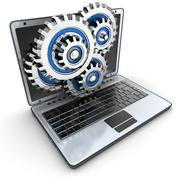 Laptop and gears (done in 3d) Stock Illustration