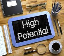 High Potential on Small Chalkboard. 3D Illustration Stock Illustration