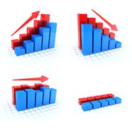 Four Symbol diagrams (done in 3d, white background) Stock Illustration