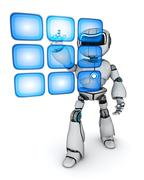 Robot and buttons hologram (done in 3d) Stock Illustration