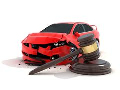 Car crash on white background and law (done in 3d) Piirros