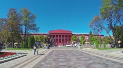 The red University building in Kiev Stock Footage