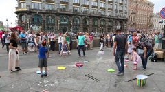 Artists organize an attraction with soap bubbles in St. Petersburg Stock Footage
