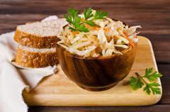 Traditional homemade sauerkraut Stock Photos