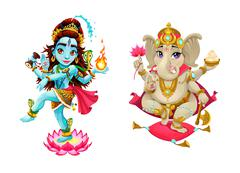 Representation of hindu gods Shiva and Ganesha Stock Illustration