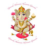 Cartoon representation of eastern god Ganesha, with mantra Stock Illustration