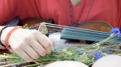 View of female hands picking field flowers and holding violin Stock Footage