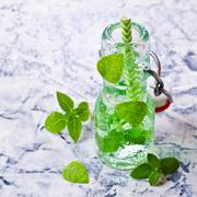 Transparent green drink Stock Photos