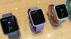 Different Apple Apple Watches in Apple store in Surya mall Stock Footage