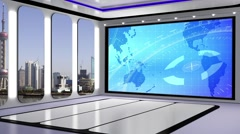 News TV Studio Set 221- Virtual Green Screen Background Loop Stock Footage