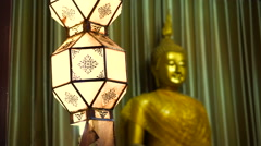 Thai buddhist temple various elements at dusk. Magic hour with blue sky Stock Footage