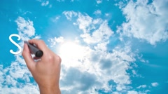 Sky Is The Limit -  concept with hand writing on the sky. Man writing. Blue s Stock Footage