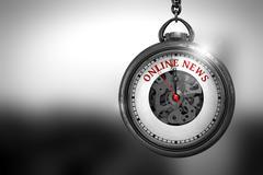 Online News on Vintage Pocket Clock. 3D Illustration Stock Illustration