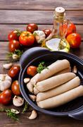 Homemade raw sausages Stock Photos