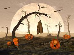 Halloween pumpkins and spooky trees - 3D render Stock Illustration