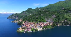 Village of Varenna - Como Lake (Italy) - Aerial view Stock Footage