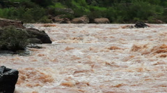 River in Thailand with raging whitewater rapids is a favorite of rafters. Stock Footage