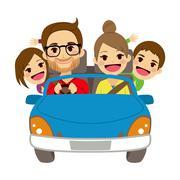 Happy Family Traveling Car Stock Illustration