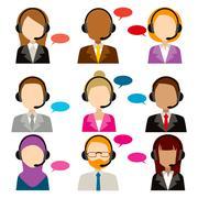 Call Center Service Diversity Icons Stock Illustration