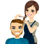 Hairdresser Cutting Man Hair Stock Illustration