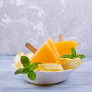 Homemade ice lolly of melon Stock Photos