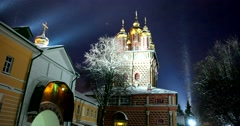 The Church, the light, the snow sparkles in the light of lanterns, winter, dusk Stock Footage