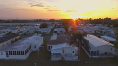 Aerial View of Florida Mobile Home at Sunset Stock Footage