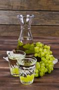 Transparent drink made from grapes Stock Photos