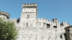 Fenis, Aosta valley, Italy. Detail of medieval Castle of Fenis Stock Footage