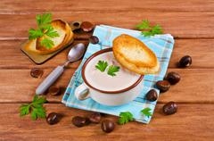 Cream soup of pureed chestnuts Stock Photos