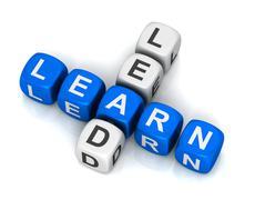 Learn lead cubes concept  3d illustration Stock Illustration